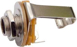 deetech KB63 - 6,3mm Klinke Einbaubuchse mit Schalter, mono, chrom