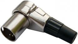 deetech XLR-Winkelstecker 90° male, 5-pol. silber, schwenkbar