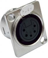 deetech XLR Einbaubuchse  Pro  5-polig, D-Typ, mit Verriegelung, female, silber