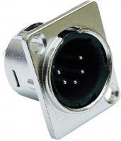 deetech XLR Einbaubuchse  Pro  5-polig, D-Typ, mit Verriegelung, male, silber