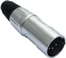 deetech XLR HD-Stecker, male, 5-polig, silber / Heavy Duty