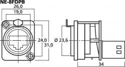 Neutrik NE-8FDPB - 2 x RJ-45 EtherCon-Durchgangs-Einbaubuchse, Cat-5-Standard