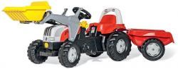 Trettraktor rollyKid Steyr, Farbe rot mit Schaufellader und Anhänger