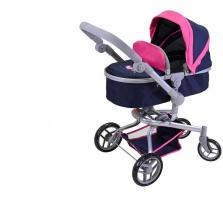 Puppenwagen Boonk - flying hearts blue pink