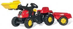 Trettraktor rollyKid X, Farbe rot, mit Schaufellader und Anhänger