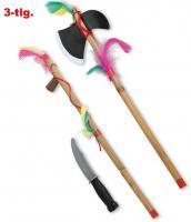 Indianerset, Faschingszubehör Tomahawk mit Messer 2teilig