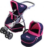 Puppenwagen Coco - flying hearts blue pink