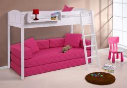 Hochbett Spielbett Bett - BENI XS - Kiefer Weiss