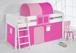 Spielbett Bett - LANDI - Pink Rosa -Teilbar -Kiefer Weiss -mit Vorhang