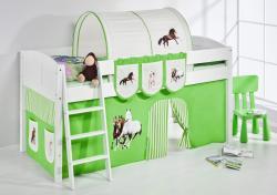Spielbett Bett -LANDI - Pferde Grün -Teilbar- Kiefer Weiss-mit Vorhang