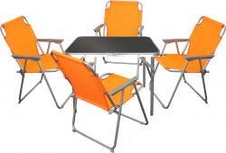 5tlg. Campingmöbel-Set Tisch 75x55cm + 4x Klappstuhl Orange