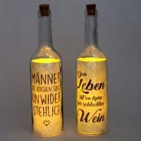 2er Set beleuchtete Flasche mit LED Beleuchtung und Spruch