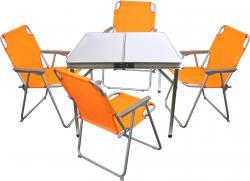 5tlg. Campingmöbel-Set Alu Campingtisch 'Domburg' Weiß 80x80cm + 4x Klappstuhl Orange