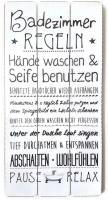 Holzschild Badezimmer Familienregeln 60x30cm