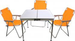 4tlg. Campingmöbel-Set Alu Campingtisch 'Domburg' Weiß 80x80cm + 3x Klappstuhl Orange