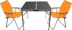 3tlg. Campingmöbel-Set Alu Campingtisch 'Domburg' Schwarz 80x80cm + 2x Klappstuhl Orange