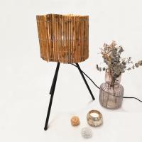 Hochwertige Tischlampe mit Lampenschirm aus Bambus E27 40W H54cm Natur/Schwarz