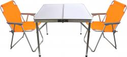 3tlg. Campingmöbel-Set Alu Campingtisch 'Domburg' Weiß 80x80cm + 2x Klappstuhl Orange