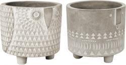 2er Set Übertopf Ø11,5xH10,5cm / Ø12,5xH11,5cm Zement im Azteken-Design