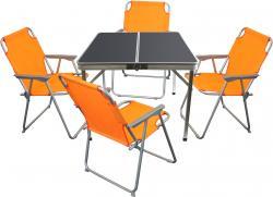 5tlg. Campingmöbel-Set Alu Campingtisch 'Domburg' Schwarz 80x80cm + 4x Klappstuhl Orange