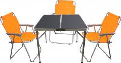 4tlg. Campingmöbel-Set Alu Campingtisch 'Domburg' Schwarz 80x80cm + 3x Klappstuhl Orange