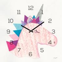 levandeo Wanduhr Glas 30x30cm Glasuhr Uhr Glasbild Unicorn Einhorn Rosa Deko