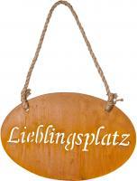 Schild Lieblingsplatz 30x18cm Garten-Deko Hängerchen Türschild Edelrost Wandbild