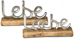 2er Set Schriftzug Lebe Lache L23cm Metall Silber Mango Holz Aufsteller Deko