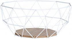 Korb Metall Weiß 26x12cm Modern Holz MDF Braun Schüssel Schale Deko Design