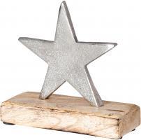 Stern 12x12cm Metall Mango Silber Braun Tischdeko Holz Metallstern Dekoration