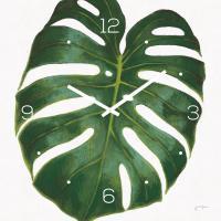 levandeo Wanduhr Glas 30x30cm Glasuhr Uhr Glasbild Monstera Blatt Grün Deko