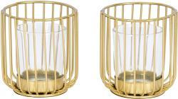 2er Set Teelichthalter Gold Metall Glas Windlicht Kerzenhalter Tischdeko Kerze