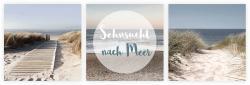 3er Set Wandbild je 30x30cm Glasbild Meer Düne Strand Sehnsucht Urlaub Küste