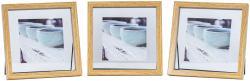 3er Set Bilderrahmen Aufsteller 10x10 Holz Eiche-Optik Metall Glas Fotorahmen