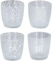 4er Set Windlicht H7,5cm Glas Klar Teelichthalter Tischdeko Kerzen Retro Deko
