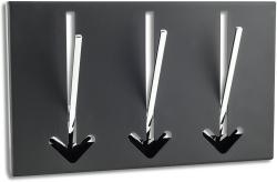 3 Wandhaken Pfeil Wandgarderobe schwarz Garderobe Metall Chrom Haken