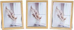3er Set Bilderrahmen Aufsteller 13x18 Holz Eiche-Optik Metall Glas Fotorahmen