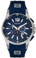 Quantum HUNTER, Herren Uhr Analog,Armbanduhr silver/blue, 52x62mm, silicone blue