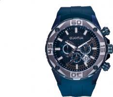 Quantum EXG410.099, Herren Uhr, Armbanduhr, grey/blue, 51x59mm, silicone blue