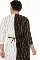 ULLA POPKEN Kleid Kettenmuster Drapierung 3/4-Ärmel schwarz NEU