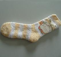 Bettsocken Kuschelsocken Socken Streifen gelb 36-41