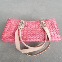 Maisstrohtasche Handtasche DoppelHenkel Korb Strohtasche Rot 34x15cm