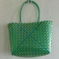 Einkaufstasche Einkaufskorb Marktkorb Strandtasche Tasche Flechttasche grün-gelb