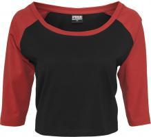T-Shirt URBAN CLASSICS Ladies Cropped 3/4 T-Shirt Langarmshirt teilweise Bauchfuerei