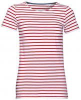 T-Shirt Women`s Round Neck Striped T-Shirt Miles Damen Shirt Top kurzarm kurzaermlig
