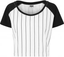 T-Shirt Urban Classics TB1507 Ladies Cropped Baseball Tee