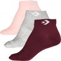 Converse Damen Socken Star Chevron 3-er Pack Füßlinge Lurex grau rosa bordeaux