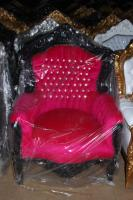 Casa Padrino Barock Sessel King Pink/Schwarz mit Bling Bling Glitzersteinen