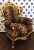 Barock Sessel King Leopard/Gold Barockstil Muster - Möbel Antik Stil