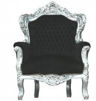 Casa Padrino Barock Sessel  King  Schwarz/Silber - Thron Tron Königsthron